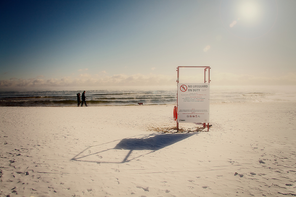 A lone Lifeguard Station at the Woodbine Beach on Lake Ontario, The Beaches, Toronto Canada.