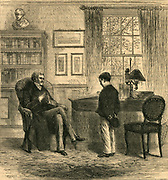 Young boy being interviewed by his headmaster.  Engraving, 1879.