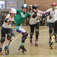Manchester Roller Derby's All Stars join forces to take on Crash Test Brummies and Central City Roller Girls in a co-ed bout celebrating 5 years of Manchester Roller Derby held at George H Carnall Leisure Centre, Urmston, 2015-03-07