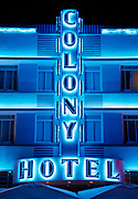 The Colony Hotel at night, the deco district, South Beach, Miami, Florida
