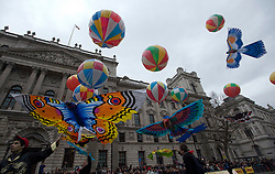 © London News Pictures. 01/01/2012. London, UK. A collection of 20 giant bird Kites from kite maker, Nasser Volant take part in the 2012 New Years Parade in London on January 1st, 2012. Photo credit : Ben Cawthra/LNP