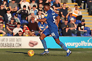 AFC Wimbledon defender Paul Kalambayi (30) dribbling during the EFL Sky Bet League 1 match between AFC Wimbledon and Charlton Athletic at the Cherry Red Records Stadium, Kingston, England on 23 February 2019.