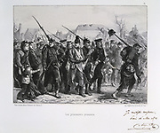 Franco-Prussian War 1870-1871:   Prussian prisoners-of-war. From a series of lithographs  by Clement August Andrieux on the Gardes Nationales.