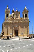 Seventeenth century Baroque architecture St Philip of Agira parish church at Zebbug, island of Gozo, Malta
