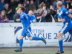 Montrose Scott Johnston celebrates after scoring their goal. Half time : Montrose 1 v 0 Brora Rangers, Scottish League Two play-off second leg, today at Links Park, Montrose.