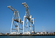 Giant cranes are ready to tower over ships in the Port of Oakland, Calif.,  on Saturday, Aug. 6, 2011.  (© 2011 Cindi Christie/Cyanpixel Photography)