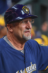 March 26, 2018 - Houston, TX, U.S. - HOUSTON, TX - MARCH 26: Milwaukee Brewers third base coach Ed Sedar (0) talks in the dugout during the game between the Milwaukee Brewers and Houston Astros at Minute Maid Park on March 26, 2018 in Houston, Texas. (Photo by Ken Murray/Icon Sportswire) (Credit Image: © Ken Murray/Icon SMI via ZUMA Press)