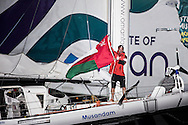 The 2014 Route Du Rhum finish. Guadeloupe. Pictures of Sidney Gavignet onboard his MOD70 Trimaran Musandam - Oman . Finishing the Route du Rhum in 5th place this morning<br /> Credit: Mark Lloyd/Lloyd Images