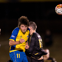 BRISBANE, AUSTRALIA - AUGUST 26: Jeremy Stewart of the Strikers and Stephen Green of Moreton Bay compete for the ball during the NPL Queensland Senior Men's Semi Final match between Brisbane Strikers and Moreton Bay Jets at Perry Park on August 26, 2017 in Brisbane, Australia. (Photo by Patrick Kearney)