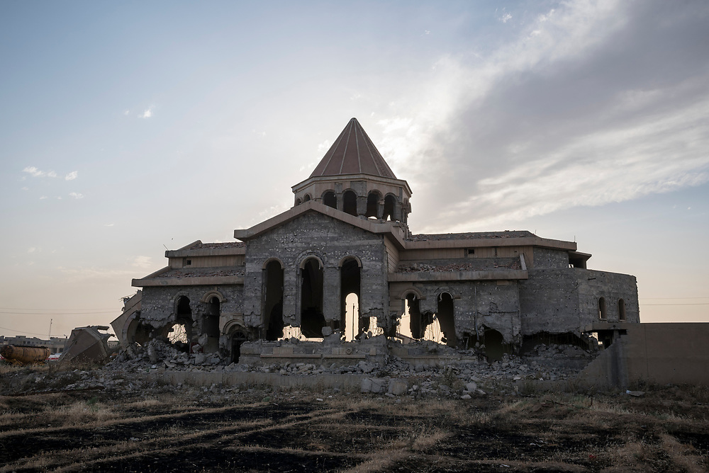 An Armenian church in Mosul, Iraq, destroyed during the ISIS occupation of the city. (May 23, 2017)
