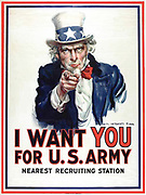 I Want You for the U.S. Army'  recruitment poster during World War I, by James Montgomery Flagg 1917