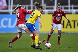 Molly Pike of Bristol City Women is challenged by Maya Le Tissier of Brighton and Hove Albion - Mandatory by-line: Ryan Hiscott/JMP - 30/01/2021 - FOOTBALL - Twerton Park - Bath, England - Bristol City Women v Brighton and Hove Albion Women - FA Womens Super League 1