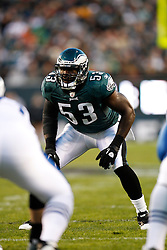 Philadelphia Eagles linebacker Moise Fokou #53 during the NFL Game between the Indianapolis Colts and the Philadelphia Eagles. The Eagles won 26-24 at Lincoln Financial Field in Philadelphia, Pennsylvania on Sunday November 7th 2010. (Photo By Brian Garfinkel)