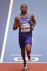 USA's Christian Coleman during heat 1 of the Men's 60m, during day three of the 2018 IAAF Indoor World Championships at The Arena Birmingham.