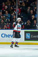 KELOWNA, BC - FEBRUARY 17: Dillon Hamaliuk #22 of the Kelowna Rockets raises his stick to celebrate a second period goal against the Calgary Hitmen at Prospera Place on February 17, 2020 in Kelowna, Canada. Hamaliuk was selected in the 2019 NHL entry draft by the San Jose Sharks. (Photo by Marissa Baecker/Shoot the Breeze)