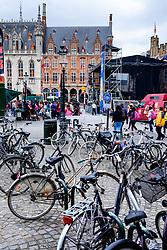 Bicycles parked in the Grote Markt, Bruges, Belgium<br /> <br /> (c) Andrew Wilson | Edinburgh Elite media