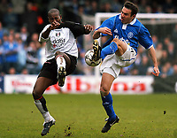 PHOTO:Alan Crowhurst.Digitalsport<br /> FULHAM V BIRMINGHAM,Barclaycard Premiership,<br /> 03/04/2004.LUIS BOA MORTE AND STAN LAZARIDIS<br /> CHALLENGE FO THE BALL.