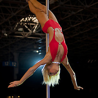 Third placed amateur competitor Beatrix Kollar performs on the pole during the first ever Hungarian Pole Dance Championships organized by former striptease world champion Alma Pirner as part of the Erotic Exhibition held in Hungexpo center. in Budapest, Hungary on September 06, 2008. ATTILA VOLGYI