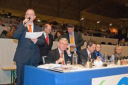 De Ruiter Bert (NED) omroeper, Haarman Wil (NED) programmaregie, Heidema Jan (NED) omroeper<br /> KWPN Hengstenkeuring - 's Hertogenbosch 2012<br /> © Dirk Caremans