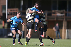 Robbie Louw of Boland and Gerrit van Wyk of Boland tackle Dries Swanepoel of the Blue Bulls during the Currie Cup premier division match between the Boland Cavaliers and The Blue Bulls held at Boland Stadium, Wellington, South Africa on the 23rd September 2016<br /> <br /> Photo by:   Shaun Roy/ Real Time Images