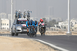 February 24, 2019 - Abu Dhabi, United Arab Emirates - Members of Movistar Team in action, during the Team Time Trial, the opening ADNOC stage of the inaugural UAE Tour 2019..On Sunday, February 24, 2019, Abu Dhabi, United Arab Emirates. (Credit Image: © Artur Widak/NurPhoto via ZUMA Press)