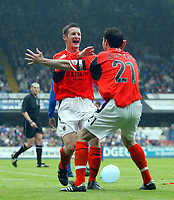 Photo: Scott Heavey.<br /> Ipswich Town v Cardiff City. Nationwide Division One. 09/05/2004.<br /> Lee Bullock celebrates the equaliser for Cardiff