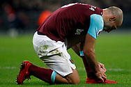 Pablo Zabaleta of West Ham United ties up his boot laces. Premier league match, Tottenham Hotspur v West Ham United at Wembley Stadium in London on Thursday  4th January 2018.<br /> pic by Steffan Bowen, Andrew Orchard sports photography.