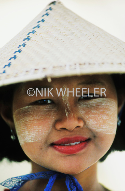 Traditional Burmese Woman of Sagaing in Mandalay located in Myanmar, Burma in Southeast Asia