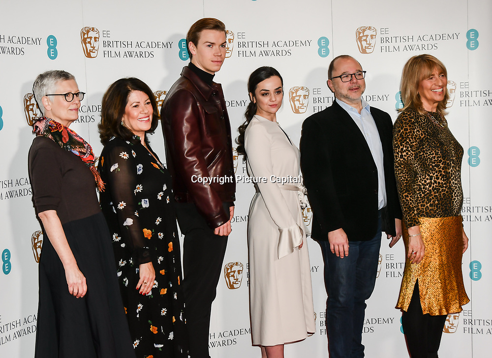 Alison Thompson, Pippa Harris, Will Poulter, Hayley Squires, Marc Samuelson, Jane Lush attends the EE BAFTA Film Awards Nominations Announcement on 9 january 2019, london, UK.