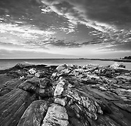 Sunrise Over The Shattered Sea Coast At The Foot Of The Pemaquid Point Lighthouse, Bristol, Maine, USA