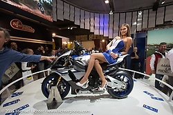 Yamaha display at EICMA, the largest international motorcycle exhibition in the world. Milan, Italy. November 19, 2015.  Photography ©2015 Michael Lichter.