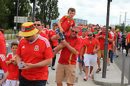 Wales fans arriving outside the stadium before k/o. Euro 2016, Wales v Slovakia at Matmut Atlantique , Nouveau Stade de Bordeaux  in Bordeaux, France on Saturday 11th June 2016, pic by  Andrew Orchard,