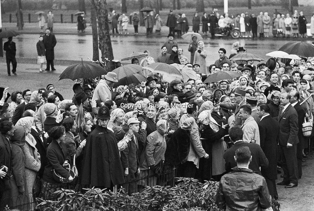 London 1960.Charles de Gaulle on an official visit to London  While there,  he decided to have a separate meeting with the French colony in London.<br /> <br /> Londres 1960.Charles de Gaulle en visite officielle à Londres. Durant sa presence, il a décidé d'avoir une réunion séparée avec la colonie française à Londres .