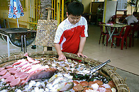 Seafood displayed in a Vietnamese basket boat in Nha Trang.  Seafood, of course, is what Nha Trang is famous for besides its legendary beaches.