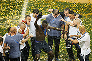 Benjamin Mendy of France celebrates with the members staff after winning the 2018 FIFA World Cup Russia, final football match between France and Croatia on July 15, 2018 at Luzhniki Stadium in Moscow, Russia - Photo Tarso Sarraf / FramePhoto / ProSportsImages / DPPI
