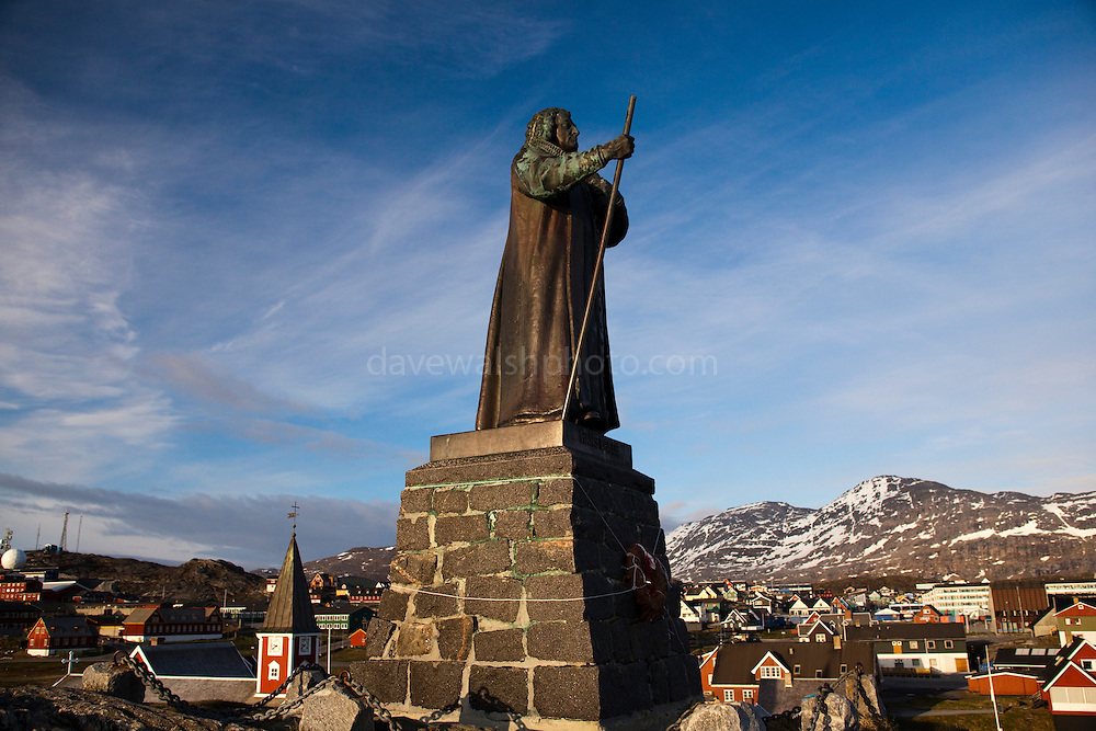 Statue of Hans Edege, Nuuk, Greenland, a Danish-Norwegian missionary who arrived in 1721 and founded the city  - then known as Godthab - in 1728.