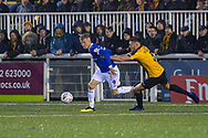 Oldham Athletic forward Sam Surridge (9) and Maidstone United defender Will de Havilland (5) during the The FA Cup match between Maidstone United and Oldham Athletic at the Gallagher Stadium, Maidstone, United Kingdom on 1 December 2018. Photo by Martin Cole