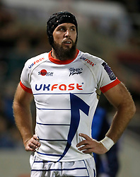 Sale Sharks' Bryn Evans in action against Toulouse, during the European Challenge Cup pool two match at the AJ Bell Stadium, Sale. PRESS ASSOCIATION Photo. Picture date: Friday October 13, 2017. See PA story RUGBYU Sale. Photo credit should read: Martin Rickett/PA Wire.