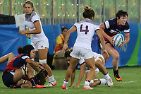 August 08, 2016; Rio de Janeiro, Brazil; USA Women's Eagles Sevens Jillion Potter starts an attack against France during the Women's Rugby Sevens 5th Place Play-Off match on Day 3 of the Rio 2016 Olympic Games at Deodoro Stadium. Photo credit: Abel Barrientes - KLC fotos