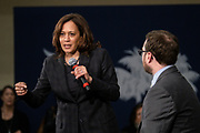 Senator Kamala Harris address a town hall meeting during her campaign for the Democratic presidential nomination as Brady Quirk-Garvan, Chair of the Charleston County Democratic Party looks on February 15, 2019 in North Charleston, South Carolina. South Carolina is the first southern democratic primary for the presidential race.