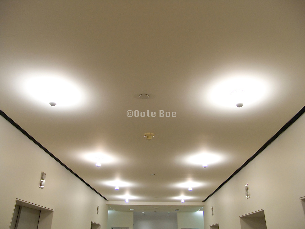 Bare light bulbs in ceiling fixture