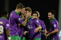 Bristol City's George Saville celebrates his goal with Bristol City's Aden Flint - Photo mandatory by-line: Alex James/JMP - Mobile: 07966 386802 - 10/03/2015 - SPORT - Football - Yeovil - Huish Park - Yeovil Town v Bristol City - Sky Bet League One