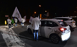 October 4, 2018 - Tihange, BELGIUM - Illustration shows a protest of national union of police and security (SNPS) at the nuclear power plant in Tihange, against the replecement of militaries by police to secure the nuclear power plant and against the creation of the direction of the secrisation (DAB), Thursday 04 October 2018, in Tihange. BELGA PHOTO ERIC LALMAND (Credit Image: © Eric Lalmand/Belga via ZUMA Press)