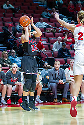 NORMAL, IL - November 20: Abby Woollacott toes up a long shot just shy of the 3 point area defended by Lexi Wallen during a college women's basketball game between the ISU Redbirds and the Huskies of Northern Illinois November 20 2019 at Redbird Arena in Normal, IL. (Photo by Alan Look)
