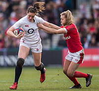 England Women's Emily Scarrattevades the tackle of Wales Women's Hannah Jones<br /> <br /> Photographer Bob Bradford/CameraSport<br /> <br /> 2020 Women's Six Nations Championship - England v Wales - Saturday 7th March 2020 - The Stoop - London<br /> <br /> World Copyright © 2020 CameraSport. All rights reserved. 43 Linden Ave. Countesthorpe. Leicester. England. LE8 5PG - Tel: +44 (0) 116 277 4147 - admin@camerasport.com - www.camerasport.com