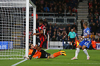Football - 2017 / 2018 EFL (League) Cup - Third Round : AFC Bournemouth vs. Brighton and Hove Albion<br /> <br /> Bournemouth's Junior Stanislas looks on as his shot crashes against the crossbar after pouncing on the rebound from Tim Krul of Brighton at the Vitality Stadium (Dean Court) Bournemouth<br /> <br /> COLORSPORT/SHAUN BOGGUST