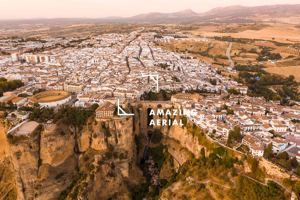 Aerial view of El Tajo Gorge, famous bridge in Ronda, Malaga, Spain