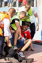 June 23, 2018 - Moscou, Rússia - MOSCOU, MO - 23.06.2018: BÉLGICA Y TÚNEZ - Security guards forcefully withdraw during Belgium-Tunisia match valid for the second round of Group G of the 2018 World Cup, held at the Otkrytie Arena in Moscow, Russia. (Credit Image: © Marcelo Machado De Melo/Fotoarena via ZUMA Press)