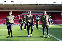 Leeds United players on the pitch at Middlesbrough's Riverside Football Stadium before the Sky Bet Championship match at The Riverside Stadium, Middlesbrough.
