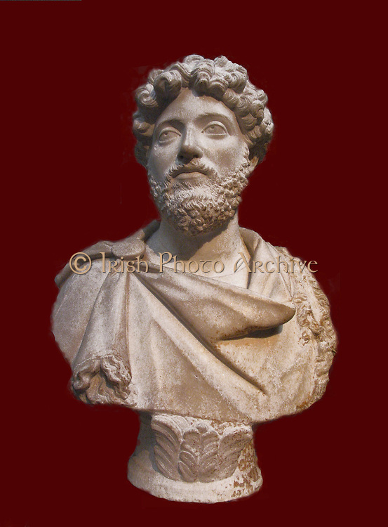 Marble bust of the Emperor Marcus Aurelius (AD 121-180) in a fringed cloak.  From Cyrene, North Africa.